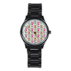 Floral Flower Pattern Seamless Stainless Steel Round Watch