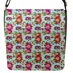 Floral Flower Pattern Seamless Flap Messenger Bag (s) by Simbadda