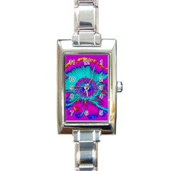 Retro Colorful Decoration Texture Rectangle Italian Charm Watch by Simbadda