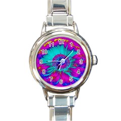 Retro Colorful Decoration Texture Round Italian Charm Watch