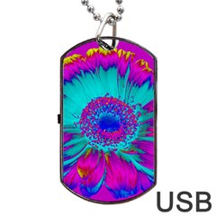 Retro Colorful Decoration Texture Dog Tag Usb Flash (one Side) by Simbadda