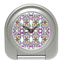 Floral Ornament Baby Girl Design Travel Alarm Clocks by Simbadda