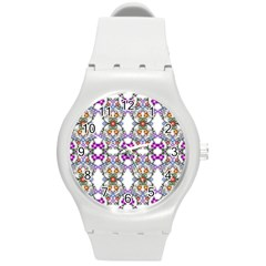 Floral Ornament Baby Girl Design Round Plastic Sport Watch (m) by Simbadda