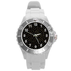 Grunge Retro Pattern Black Triangles Round Plastic Sport Watch (l) by Simbadda