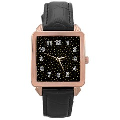 Grunge Retro Pattern Black Triangles Rose Gold Leather Watch  by Simbadda