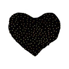 Grunge Retro Pattern Black Triangles Standard 16  Premium Flano Heart Shape Cushions by Simbadda