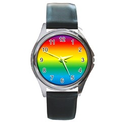 Rainbow Background Colourful Round Metal Watch by Simbadda