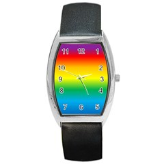 Rainbow Background Colourful Barrel Style Metal Watch by Simbadda