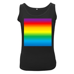 Rainbow Background Colourful Women s Black Tank Top by Simbadda