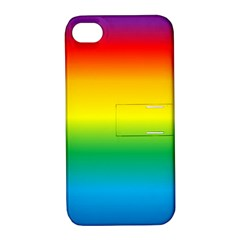Rainbow Background Colourful Apple Iphone 4/4s Hardshell Case With Stand by Simbadda