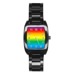 Rainbow Background Colourful Stainless Steel Barrel Watch by Simbadda