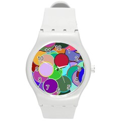 Dots Circles Colorful Unique Round Plastic Sport Watch (m) by Simbadda