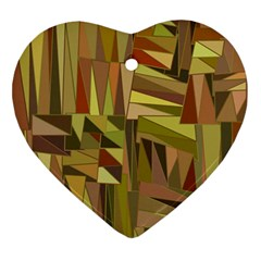 Earth Tones Geometric Shapes Unique Ornament (heart) by Simbadda