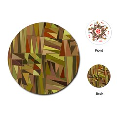 Earth Tones Geometric Shapes Unique Playing Cards (round)  by Simbadda