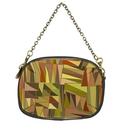 Earth Tones Geometric Shapes Unique Chain Purses (two Sides)  by Simbadda