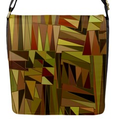 Earth Tones Geometric Shapes Unique Flap Messenger Bag (s) by Simbadda