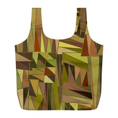 Earth Tones Geometric Shapes Unique Full Print Recycle Bags (l)  by Simbadda