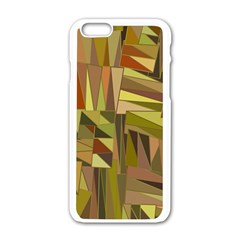 Earth Tones Geometric Shapes Unique Apple Iphone 6/6s White Enamel Case by Simbadda