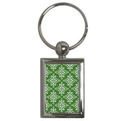 St Patrick S Day Damask Vintage Green Background Pattern Key Chains (rectangle)  by Simbadda