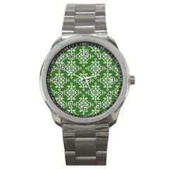 St Patrick S Day Damask Vintage Green Background Pattern Sport Metal Watch by Simbadda