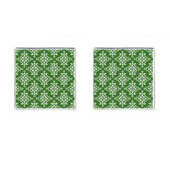 St Patrick S Day Damask Vintage Green Background Pattern Cufflinks (square) by Simbadda