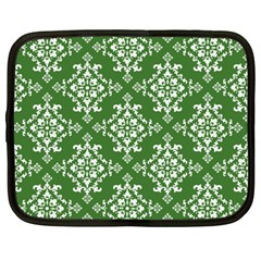 St Patrick S Day Damask Vintage Green Background Pattern Netbook Case (large) by Simbadda
