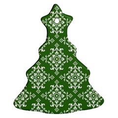 St Patrick S Day Damask Vintage Green Background Pattern Christmas Tree Ornament (two Sides) by Simbadda
