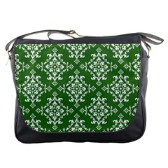 St Patrick S Day Damask Vintage Green Background Pattern Messenger Bags by Simbadda