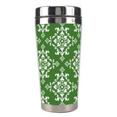 St Patrick S Day Damask Vintage Green Background Pattern Stainless Steel Travel Tumblers by Simbadda