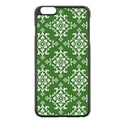 St Patrick S Day Damask Vintage Green Background Pattern Apple Iphone 6 Plus/6s Plus Black Enamel Case by Simbadda
