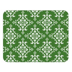 St Patrick S Day Damask Vintage Green Background Pattern Double Sided Flano Blanket (large)  by Simbadda