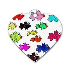 Fishes Marine Life Swimming Water Dog Tag Heart (one Side) by Simbadda