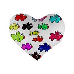 Fishes Marine Life Swimming Water Standard 16  Premium Flano Heart Shape Cushions by Simbadda