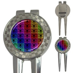 Rainbow Grid Form Abstract 3 In 1 Golf Divots by Simbadda