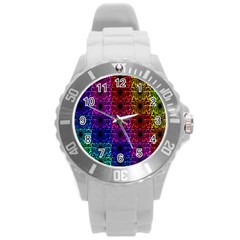 Rainbow Grid Form Abstract Round Plastic Sport Watch (l) by Simbadda