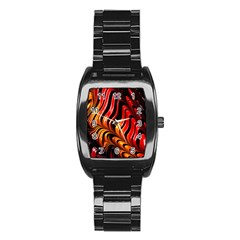 Fractal Mathematics Abstract Stainless Steel Barrel Watch by Simbadda