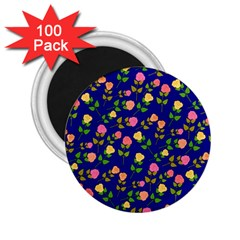 Flowers Roses Floral Flowery Blue Background 2 25  Magnets (100 Pack)  by Simbadda