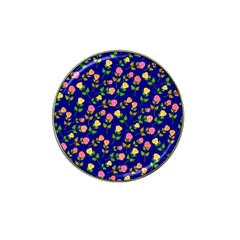 Flowers Roses Floral Flowery Blue Background Hat Clip Ball Marker by Simbadda
