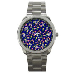Flowers Roses Floral Flowery Blue Background Sport Metal Watch by Simbadda