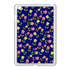 Flowers Roses Floral Flowery Blue Background Apple Ipad Mini Case (white) by Simbadda