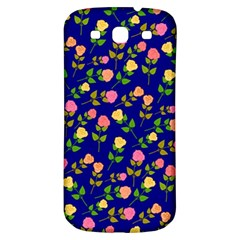 Flowers Roses Floral Flowery Blue Background Samsung Galaxy S3 S Iii Classic Hardshell Back Case by Simbadda