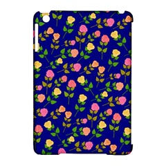 Flowers Roses Floral Flowery Blue Background Apple Ipad Mini Hardshell Case (compatible With Smart Cover) by Simbadda