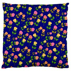 Flowers Roses Floral Flowery Blue Background Large Flano Cushion Case (one Side) by Simbadda