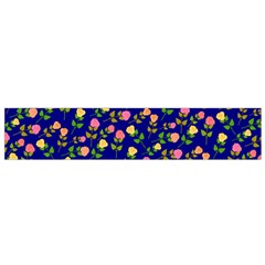 Flowers Roses Floral Flowery Blue Background Flano Scarf (small) by Simbadda