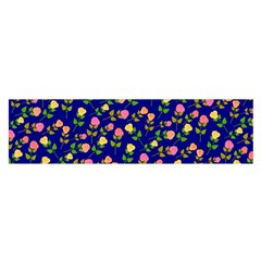 Flowers Roses Floral Flowery Blue Background Satin Scarf (oblong) by Simbadda