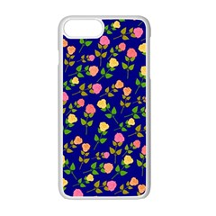 Flowers Roses Floral Flowery Blue Background Apple Iphone 7 Plus White Seamless Case by Simbadda