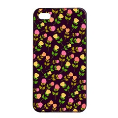 Flowers Roses Floral Flowery Apple Iphone 4/4s Seamless Case (black) by Simbadda