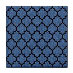 Tile1 Black Marble & Blue Denim (r) Face Towel by trendistuff