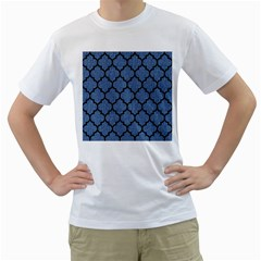 Tile1 Black Marble & Blue Denim (r) Men s T Shirt (white)  by trendistuff