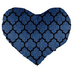 Tile1 Black Marble & Blue Denim (r) Large 19  Premium Flano Heart Shape Cushion by trendistuff